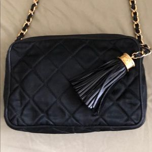 Chanel quilted black satin/leather camera bag